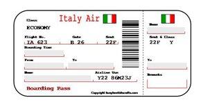 Italy Boarding Pass